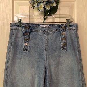 Loft sailor style wide leg cropped jeans